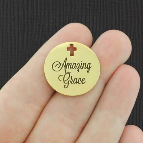 Amazing Grace BFS809GOLD Religious Gold Stainless Steel Charm