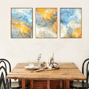 Image Is Loading Watercolor Prints Modern Abstract Blue Yellow 3 Piece
