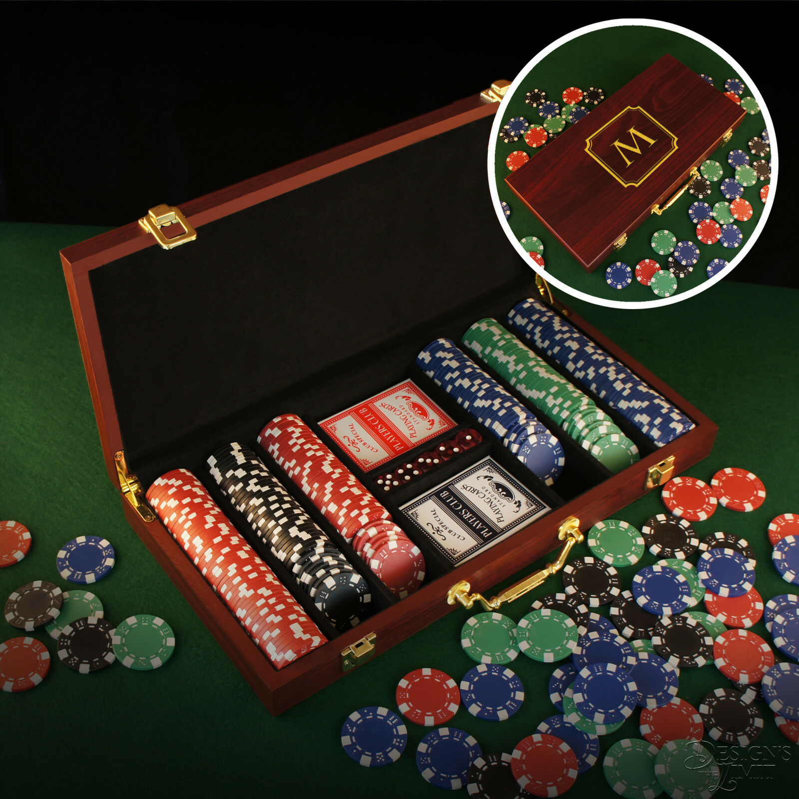 Personalized 300 Piece Poker Set Engraved w  Design Options & Font Selection