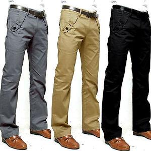 Men Pencil Dress Pant Loose Fitted Straight-Leg Work Formal Smart Belt Trousers | EBay