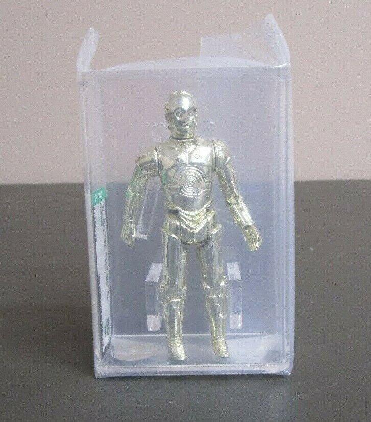 C-3PO 1977 figura de acción de la guerra de las galaxias calificado autoridad 80+ casi nuevo Hong Kong Coo JJ nuevo caso  3