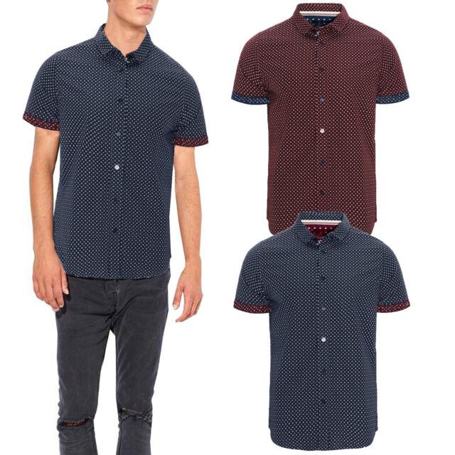 Mens Brave Soul Jenner Patterned Shirt Cotton Collared Short Sleeve Spotted Top
