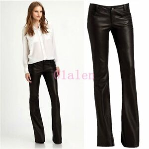 Sexy-Office-Womens-Faux-Leather-Bell-Bottom-Trousers-Mid-Waist-Slim-Pants-Chic