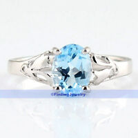 Vintage Sterling Silver 1.5CT SKy Blue Topaz Flower Solitaire Ring Size 7.5 7.25