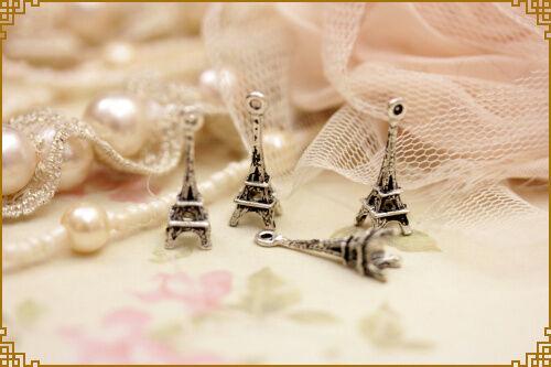 4 pezzi charm torri fel in metallo colore argento misura  2,45  x 0,8 cm