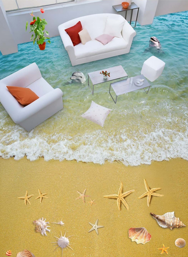 3D Dolphin Sandy Beach 5 Floor WallPaper Murals Wall Print Decal AJ WALLPAPER CA