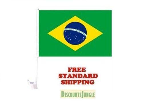 NEW Brasil Brazil World Cup Soccer Car Flag FLAGS FOR CAR WINDOW 18 X 12 INCH
