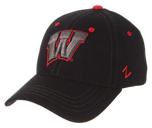 WISCONSIN-BADGERS-NCAA-BLACK-ELEMENT-FLEX-FIT-CAP-HAT-ADULT-Z-FIT-SIZE-M-L-NWT