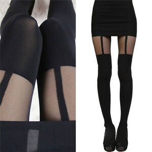 1d73bc529 Image is loading Fashion-Women-Girls-Temptation-Sheer-Mock-Suspender-Tights-