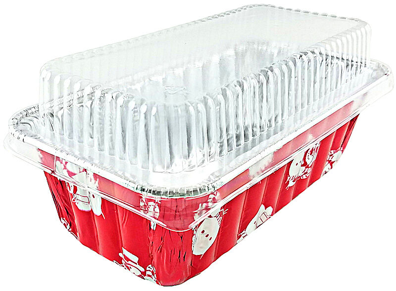 Handi-Foil 2 lb. Red Snowman Holiday Christmas Loaf Bread Pan w/Clear Dome Lids 10