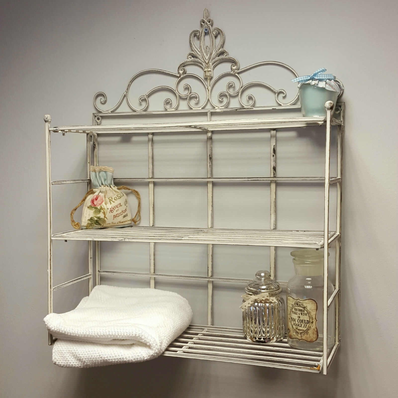 Shabby Chic Vintage Wall Shelf Storage Unit Display Metal