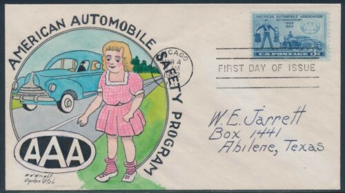 "#100736 ""A.A.A."" ON HAND PAINTED WRIGHT FDC CACHET MAR 4,1952 BT943"