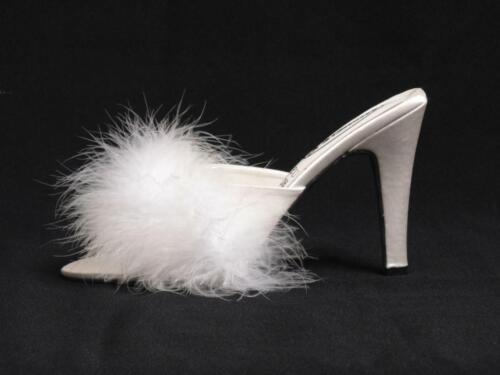 "Silver High Heel Satin Fluffy Slippers 4.5/"" UK 8 9 10 11 Trans"