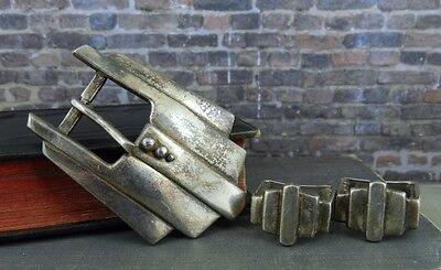 David Dear Buck Rogers Sterling Silver Belt Buckle & Keepers (Art Deco Style)