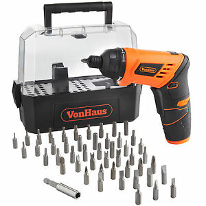 Voche 46 Piece 3.6v Cordless Rechargeable Electric Screwdriver and Accessories with Charger and Storage Carry Case