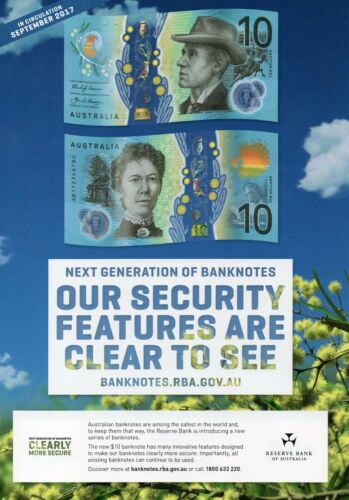 RBA Information Sheet Small F UNC Banknote AUSTRALIA $10 2017 General Prefix