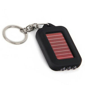 Lovely Chains Rechargeable 3 LED Flashlight Keychain Solar Power Torch Black