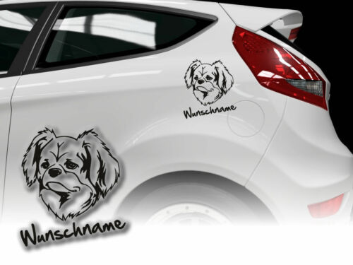 Aufkleber Tibetan Spaniel  H427 Hundeaufkleber Wunschname Auto