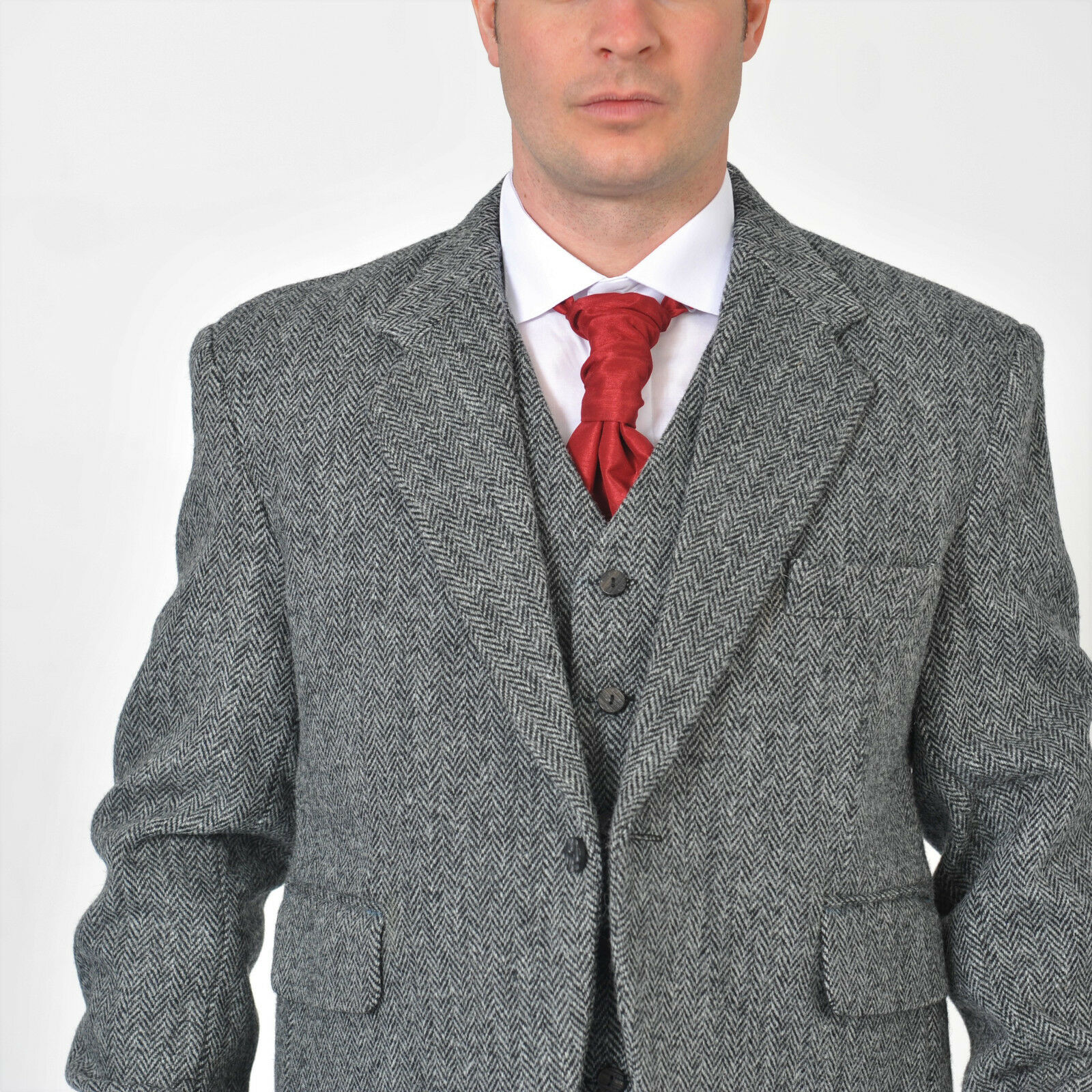 Grey Harris Tweed Laxdale Kilt Jacket & Vest Set 100% Wool,Jacket only,Vest Only