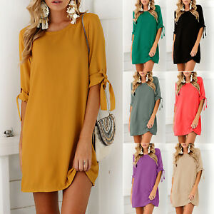 Women-Short-Sleeve-Tunic-Shift-Dress-Summer-Evening-Cocktail-Party-Mini-Sundress