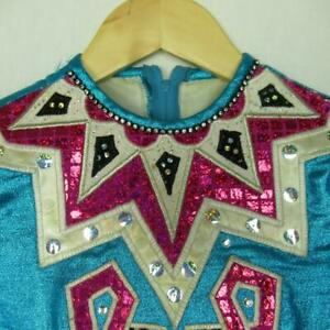 Girls-Irish-Dancing-Dress-Shiny-Blue-Pink-Cape-Tailor-Made-Ireland-Est-7-8-yrs