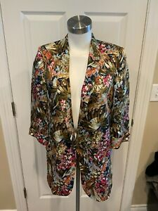 Zara Floral Print Open Front 3/4 Sleeve Jacket, Size Small