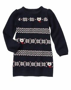 f8034fed4ee Details about GYMBOREE Girls Holiday Shop Navy Fair Isle Bear Knit Sweater  Dress Size 4 4T NWT