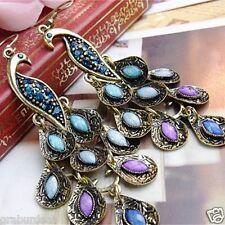 Peacock Long Feather Drop Tassel Earrings For Women Gift With Gift Festive