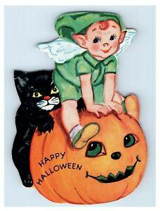 1940 Die-Cut Halloween Card Party Invitation Pumpkin JOL Boy Wings Black Cat