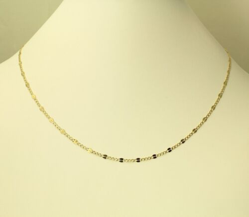 """14K Real Yellow 2 Two Tone Gold 3.2mm Stamped Figaro White Pave Chain 20/"""" Women"""