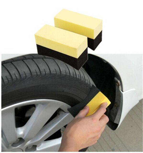 2pcs UShape Car Tire Waxing Polishing Compound Washing Sponge Cleaning Pad Brush