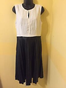 20f7c3fbf6546 J.CREW TWO-TONE PLEATED COMBO DRESS BLACK Faux Leather White ...