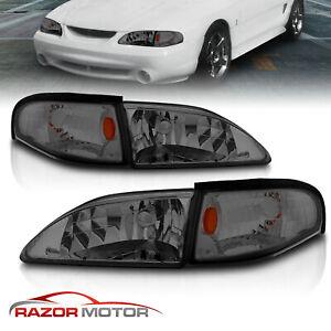 94-98 Ford Mustang GT SVT Smoke Replacement Headlights + Corner Signal Combo Set