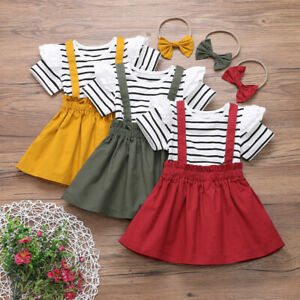 Toddler-Kids-Baby-Girls-Striped-Top-Suspender-Skirt-Headbands-Outfits-Clothes-AU