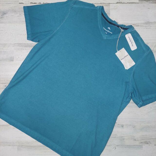 Tommy Bahama Men's Sz L Cirrus Coast V Neck Short Sleeve Shirt Blue MSRP $74.5