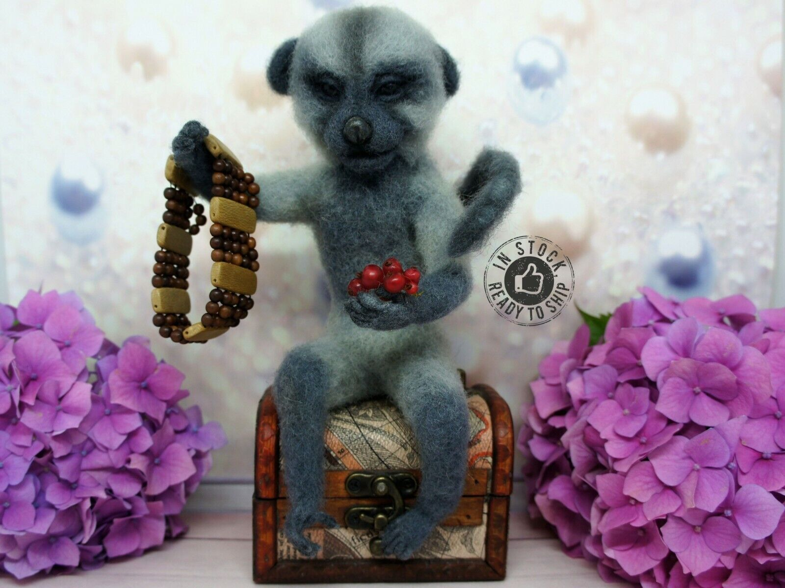 Wool toy toy Felted Marmasetka 7.87 in Handmade monkey Felt toy Merino wool Gift toy