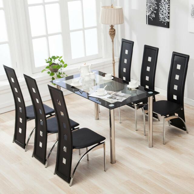 Suncoo 7 Piece Dining Table Set 6 Chairs Glass Metal Kitchen Room