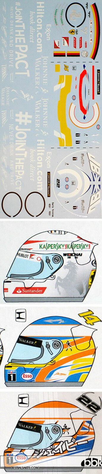 1 20 McLAREN MP4 30 JOIN THE PACT & HELMET DECALS for EBBRO 20013 BUTTON ALONSO