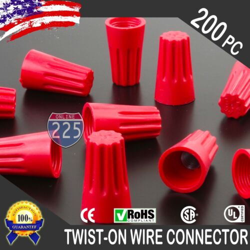 200 Red Twist-On Wire Connector Connection nuts 18-10 Gauge Barrel Screw US