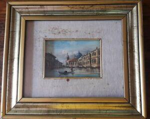⭐⭐⭐Quadro ad olio su tavola Venezia Canal Grande XX Sec. Firma da decifrare