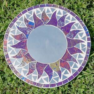 Mosaic-Mirror-Glass-Sun-Purple-Glitter-Silver-Sunburst-Wall-Hanging-Fair-Trade