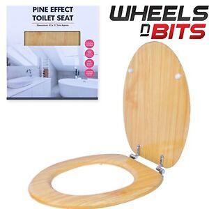 neu holz kiefer effekt boden befestigung toilettensitz mit chromscharnieren ebay. Black Bedroom Furniture Sets. Home Design Ideas