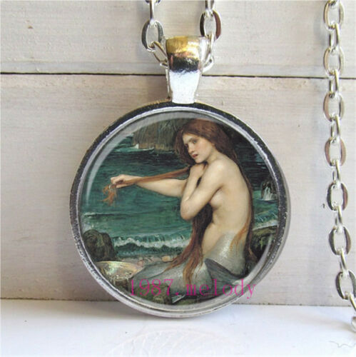 Vintage Cabochon Glass Necklace Silver Charm pendant(fantasy mermaid #387