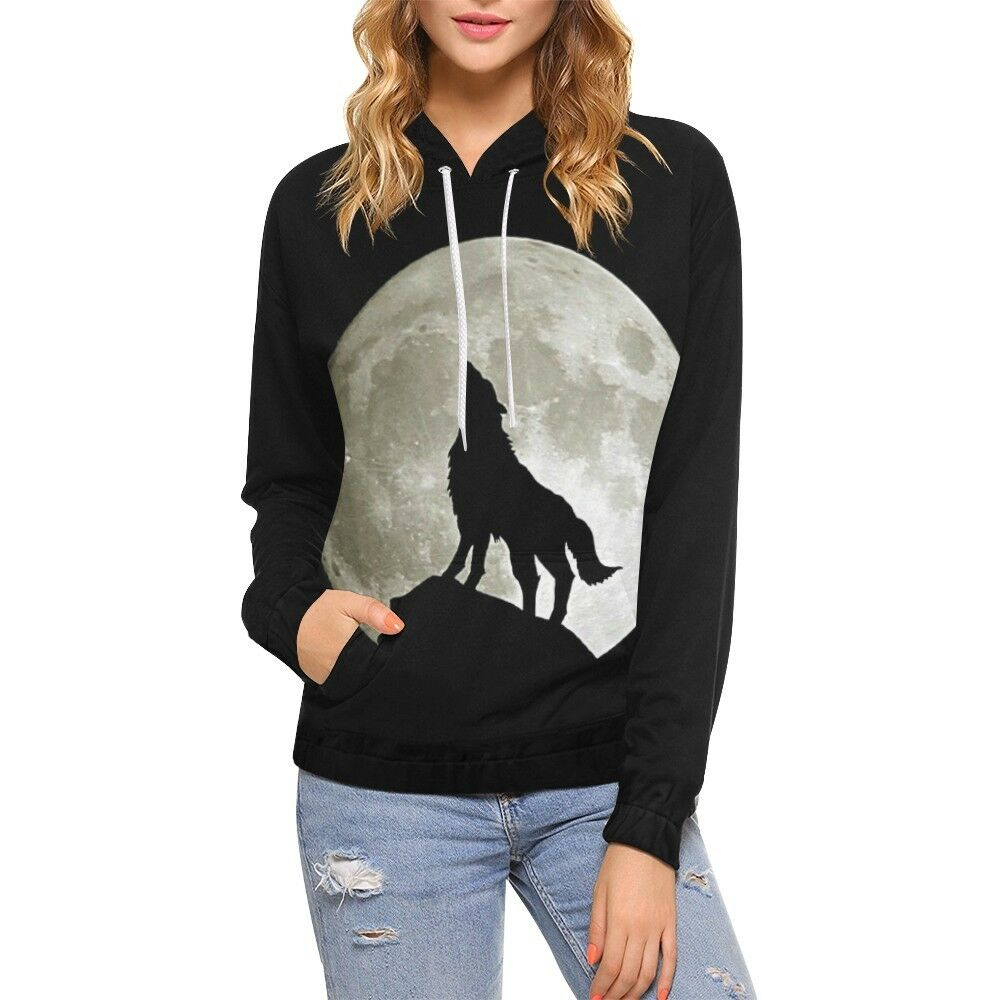 Wolf Silhouette Moon All Over Print Hoodie (USA Size)