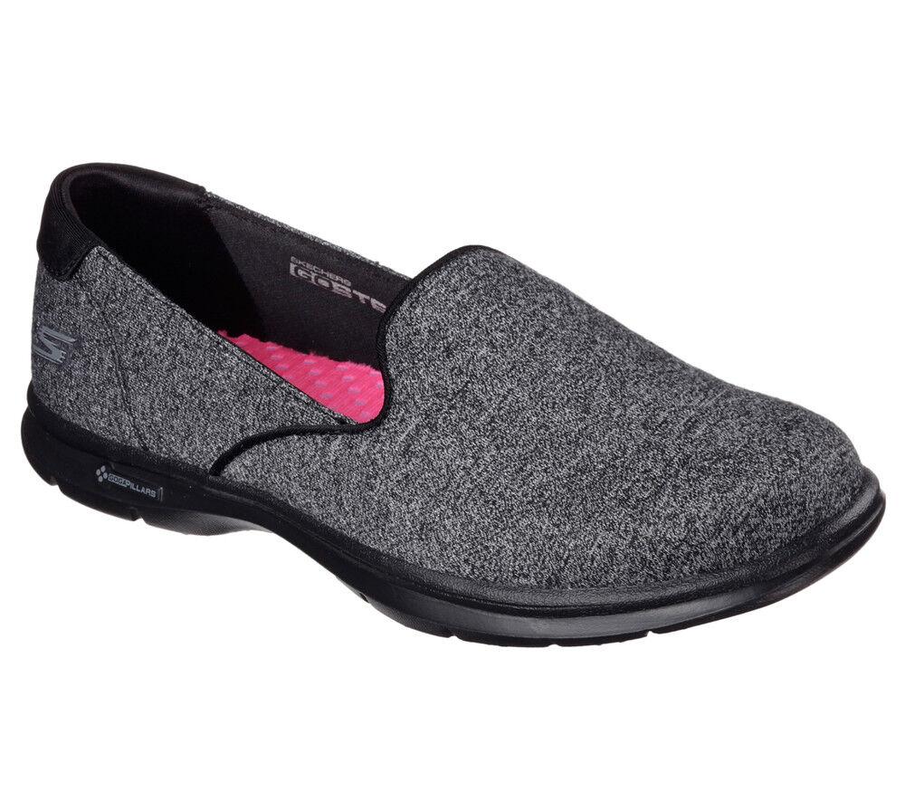NOUVEAU SKECHERS Femmes Baskets Slipper Mocassin Walking chaussures Go Step-Solution Noir