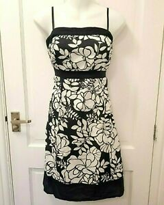 Monsoon-Empire-Waist-Floral-Cotton-Dress-Black-White-Party-Shirred-Back-UK-14