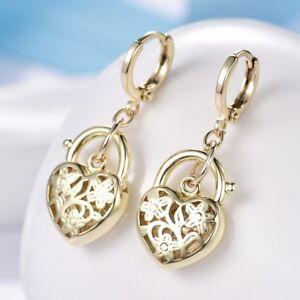 Womens-Splendid-14K-Gold-Filled-Heart-Lock-Wedding-Cheap-Dangle-Drop-Earrings