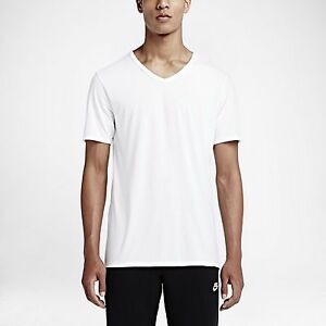 a53a4f15aac1f Details about New Men s Nike Solid Futura V-Neck Tee Shirt (708338-100)H  White