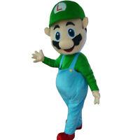 Luigi from Mario Super Bros. Mascot Costume Cartoon Character Adult Suit Express