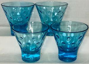 "4 Hazel Atlas CAPRI DOTS BLUE *3"" - 4 OZ FRUIT DESSERT TUMBLERS*"